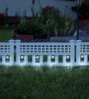 LED-es szolár kerítés - 58 x 36 x 3,5 cm - hidegfehér - 4 db / szett