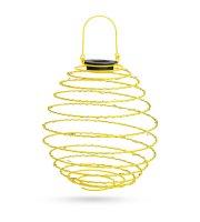 LED-es szolár spirál gömb lámpa - melegfehér - 22 cm - sárga színben