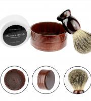 Borotválkozó szett pamaccsal, borotválkozó edénnyel és borotvaszappannal